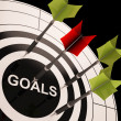 Foto Stock: Goals On Dartboard Shows Aspired Objectives