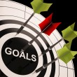 Стоковое фото: Goals On Dartboard Shows Aspired Objectives