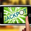 Jackpot On Smartphone Showing Target Gambling — Foto Stock