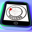 Success On Smartphone Showing Aimed Improvement - Stock Photo