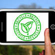 Stock Photo: Recycle On Smartphone Shows Environmental Care