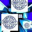 Import On Cubes Showing Importing Products — Stock Photo
