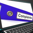 Complaints File On Laptop Shows Complaints — Stock Photo