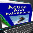 Action And Adventure On Laptop Shows Expeditions — Stock Photo