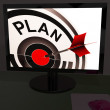 Plan On Monitor Shows Expectations — Stock Photo