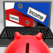 Incomes And Expenses Files On Laptop Showing Earnings — Stock Photo