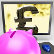 Pound Symbol On Monitor Showing Kingdom Wealth - Lizenzfreies Foto