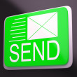 Stock Photo: Send Envelope Shows Electronic Message Worldwide Communication
