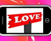 Love On Smartphone Shows Romance — Stock Photo