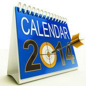 2014 Calendar Target Shows New Year Plan — Stock Photo