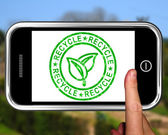 Recycle On Smartphone Shows Environmental Care — Stock Photo