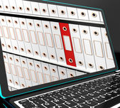 Files On Laptop Showing Organized Documents — Stock Photo