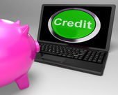 Credit Button On Laptop Shows Financial Loan — Stock Photo