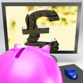 Pound Symbol On Monitor Showing Kingdom Wealth — Stock Photo