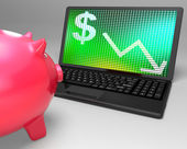 Dollar Symbol On Laptop Shows American Monetary Risks — Stock Photo