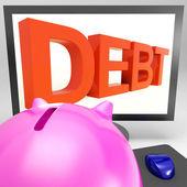 Dette sur moniteur montrant des ennuis financiers — Photo