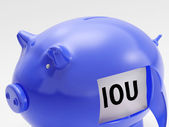 IOU In Piggy Shows Unemployment And Recession — Stock Photo