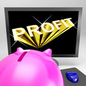 Profit Screen Shows Success And Market Growth — Stock Photo