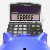 Dollars In Calculator Shows Wealth And Security — Stock Photo