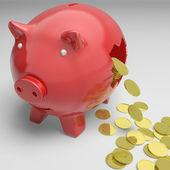 Broken Piggybank Shows Cash Savings — Stock Photo