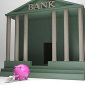 皮球离开银行显示金钱撤退 — 图库照片