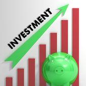 Zvyšování investiční graf ukazuje průběh — Stock fotografie