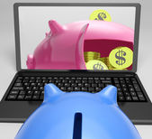 Piggy Vault With Coins Showing Bank Account — Stock Photo