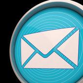 Email Envelope Shows Communication Worldwide Through web — Stock Photo