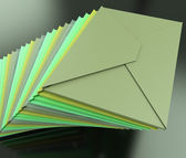 Stacked Envelopes Shows E-mail Symbol Contacting Sending — Stock Photo