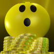 Stock Photo: Surprised Smiley With Coins Showing Sudden Success