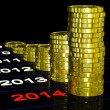 Stock Photo: Coins On 2014 Shows Financial Expectations