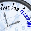 Stock Photo: Time For Teamwork Message Showing Combined Effort And Cooperatio