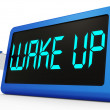 Foto Stock: Wake Up Clock Message Means Awake And Rise