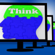 Think On Brain On Monitors Shows Human Solving — Zdjęcie stockowe