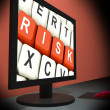 Stock Photo: Risk On Monitor Shows Unstable Situation
