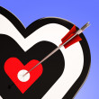 Heart Target Shows Love Romance And Feeling — Stock Photo