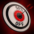 50 Percent Off Shows Markdown Bargain Advertisement — Stock Photo