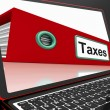 Taxes File On Laptop Shows Online Payment - Foto Stock