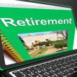 Stock Photo: Retirement Book On Laptop Showing Pension Plans