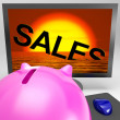 Sales Sinking On Monitor Shows Sales Collapse — Stock Photo #22286395
