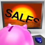försäljningen sjunker på bildskärmen visar försäljning kollaps — Stockfoto