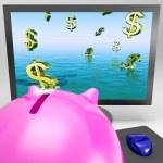 Dollar Symbols Drowning On Monitor Showing Financial Disaster — Stock Photo #22286531