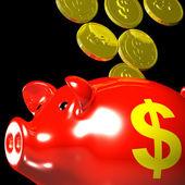 Coins Entering Piggybank Showing American Savings — Stock Photo