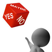 Maybe Yes No Dice Shows Uncertainty And Decisions — Stock Photo