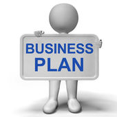 Business Plan Sign Showing Mission And Organizing — Stock Photo