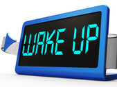 Wake Up Clock Message Means Awake And Rise — Stock Photo