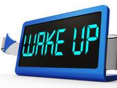 目を覚まし時計メッセージは目を覚ます、上昇 — ストック写真