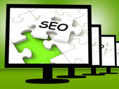 SEO On Monitors Showing Optimized Search — Stock Photo