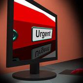 Urgent On monitor Shows Immediate Response — Zdjęcie stockowe