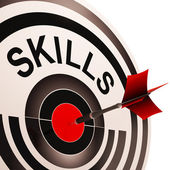 Skills Target Shows Abilities Competence And Training — Stock Photo